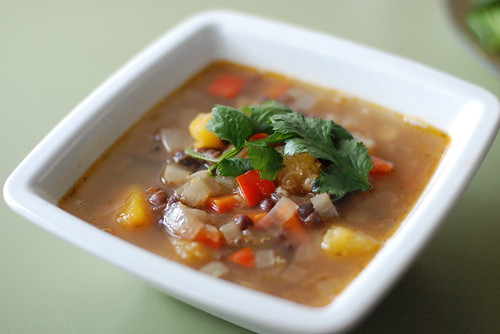 Adzuki-Squash Soup with Chipotle and Red Peppers