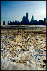North Ave Beach (Andy Marfia) Tags: winter chicago ice beach skyline d50 iso200 sand f56 1870mm allrightsreserved northave 13200sec andymarfia