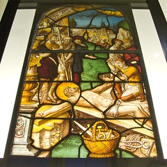 Christ is nailed to the cross - 16th century stained glass from Cologne (V&A Museum, London) (chrisjohnbeckett) Tags: color colour london art history church yellow hammer museum germany basket christ cross nail religion