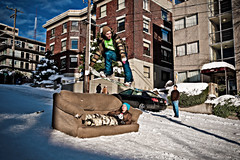 Urban Snowboarder (Surrealize) Tags: road seattle street city urban snow sports car buildings jump nikon apartments ride action queenanne hill couch snowboard grab hdr closure d700 frohieloynieve surrealize