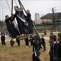 Hmong giant Bamboo swing (NaPix -- (Time out)) Tags: new portrait festival buffalo year games bamboo swing ox vietnam celebration explore lunar journalism sapa hmong explored littlestoriespicswithsoul napix theyearofthebufalloox jawnshanochagoodheartnewyearinhmong hmonggiantbambooswing sapasmostfamouslandmarkthecatholicchurch