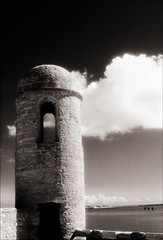 Watch Tower (Jamie Powell Sheppard) Tags: blackandwhite bw art film architecture ir photo florida fort 17thcentury fineart masonry spanish bastion canonae1program staugustine sepiatone watchtower stardesign coquina 50mmlens 35mmslr femalephotographer hc110dilb 29darkredfilter kodakhiebwinfrared elcastillodesanmarcosnationalmonument