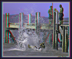 Big Splash: Stereoscopic Anaglyph (kiwizone) Tags: red swim stereoscopic 3d action dive cyan anaglyph stereo auckland zealand wharf maori splash redcyan maraitai tonemapping hyperstereo