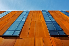 Red rusty (guajava) Tags: city blue windows red sky urban orange toronto ontario canada building window glass campus rust university day panel outdoor steel weathered panels weathering corten