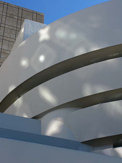 reflected light on the Guggenheim Museum, Manhattan, NYC