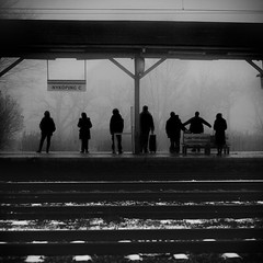Dance (koinis) Tags: bw white mist black station fog train john 50mm dance dancing 8 explore 18 sv nykping svartvitt koinberg koinis