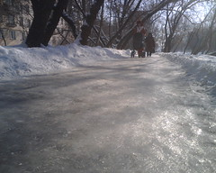 Slippery slope (obk_mobile) Tags: snow russia moscow sneeuw moskou rusland spekglad spiegelglad glibberigheid