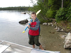 Preparing to Portage (OakleyOriginals) Tags: family summer vacation mountains cold 2004 nature river outdoors paddle hike canoe yellowstone grandtetons wilderness portage jennylake stringlake leighlake