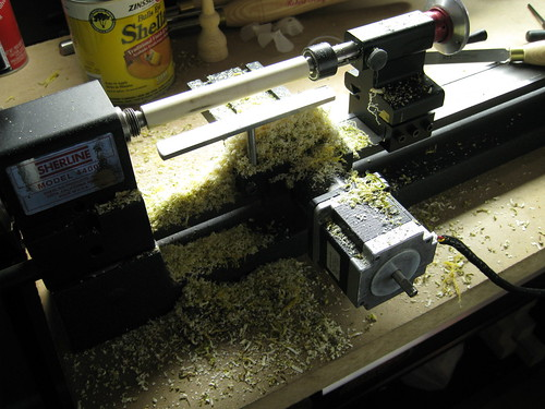 wet shavings mess around mini lathe