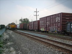 Two trains meet in Bridgeview Illinois. August 2007.