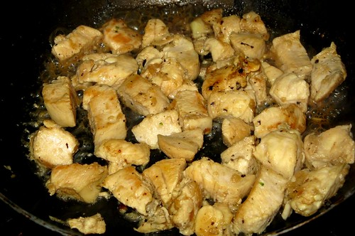 Sauteeing chicken with garlic