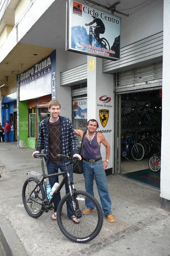 Rune with his great new bike (and some random local weirdo)...