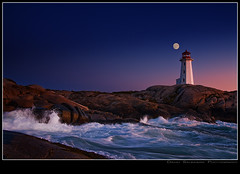 Peggy gets mooned! (Dave the Haligonian) Tags: ocean pink sunset sea sky moon lighthouse canada coast waves novascotia dusk line atlantic full shore maritime splash peggyscove copyrightallrightsreserved davidsaunders davethehaligonian nkn5199 peggygetsmooned