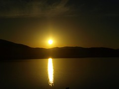 Sunset on the Water (Designer Michael) Tags: sunset sun reflection water lakependoreille funinthesun mountainranges sunsetoverwater reflectionofthesun