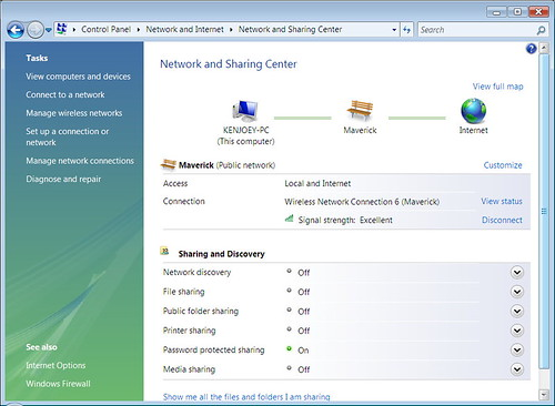 Vista Control Panel Network and Sharing Center