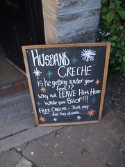 Husband Creche sign outside Thunderton House pub (cheesemonster) Tags: bar scotland pub inn alba humor humour elgin scotia creche chalkboard blackboard caledonia scottland ecosse bonniescotland shotland chalkbaord blackbaord scotsland shottland scottsland eilginn leavehimhere freecreche