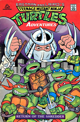 "Random House ""Teenage Mutant Ninja Turtles Adventures - Return of the Shredder "" Cassette and Comic Book Edition.. signed by interior artist Dave Garcia  (( 1990 ))"