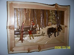 Horse Loggers Intarsia #2 (Wildlife In Wood) Tags: wood art intarsia inlay