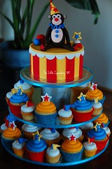 Circus Themed 18th Birthday (Klaire with a Cake) Tags: birthday pink roses tower beauty stars monkey little circus stripes clown amd flags cupcake belle beast 18 tlc cupcakery xirj klairescupcakes