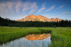 Cascade Meadow (Michael Bollino) Tags: travel light summer mountain reflection nature water grass clouds landscape photography golden nikon northwest meadow roadtrip cascades pacificnorthwest cascade channel northcascades herringbone d300 michaelbollino
