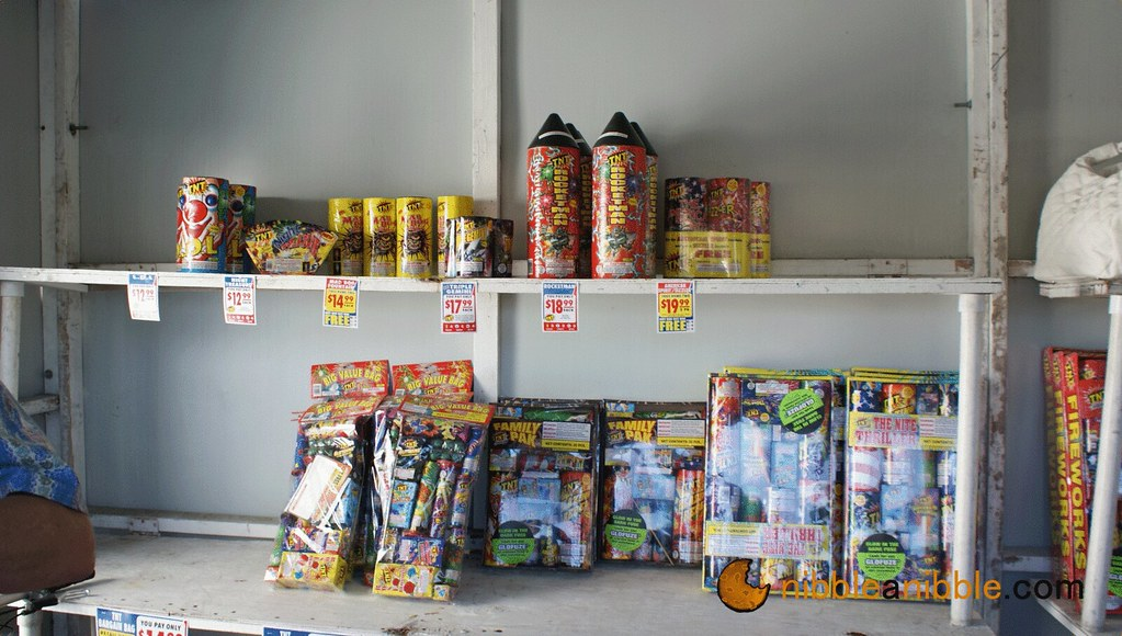 Behind the counters of firework stand