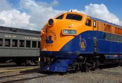 CNJ F3 (searchlight557) Tags: old railroad travel sky orange clouds train nikon diesel pennsylvania engine nostalgia transportation locomotive headlight f3 56 dieselengine cnj funit jerseycentral