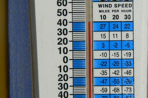 Summer thermometer reading in Deadhorse, Alaska