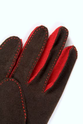 brown and red gloves