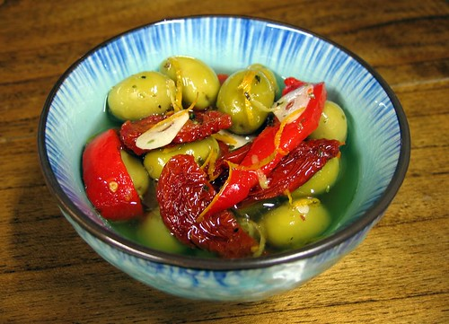 Marinated Olives, Sun-Dried Tomatoes, and Roasted Red Peppers