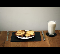 Can It Get Any Better? (Euan Baker) Tags: old food white glass wall cheese breakfast dinner vintage bread table lunch wooden milk tea toast wayne knife plate fork slate 1960 thiebaud chedder fashoined