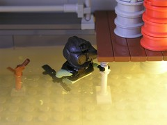 East Bridge swimming ISA soldier (ORRANGE.) Tags: bridge water soldier lego east isa helghast killzone
