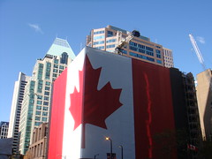 GIANT Canadian flag building