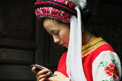 Breathing time (yui503cx) Tags: china white girl mobile temple phone south sharp yunnan dali bai  ethnicminority autonomous