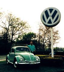 1963 VW with VW Lollipop Sign, 1995 (63vwdriver) Tags: sign vw vintage bug volkswagen connecticut beetle glastonbury ct lollipop dealership langan 1963