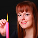 Leanne lighting candle zoom lens pic