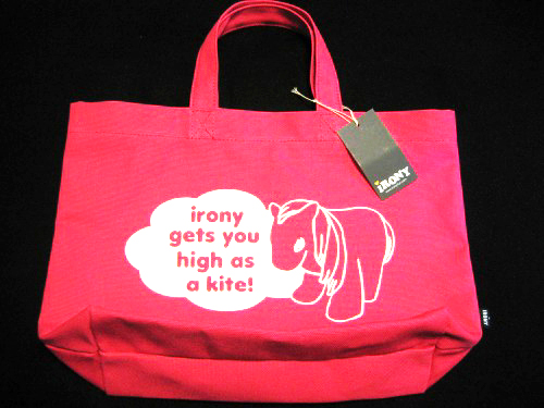 Pink tote from irony