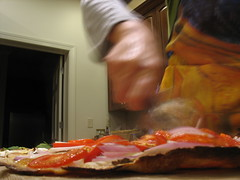 hot thin crust (k.m. Hahn) Tags: tomatoes pizza onions homemade pizzastone pizzawheel