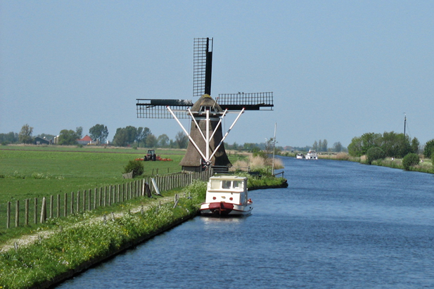 Dutch Windmill in Friesland, The Netherlands