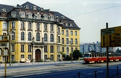 Dresden in lovely ORWO colour 1988 - Landhaus . (sludgegulper) Tags: road signs schilder museum dresden tram ddr gdr haltestelle tatra dresdner landhaus orwo t4d wilsdrufferstrase verkehrsbetrieb wilsdrufferstr