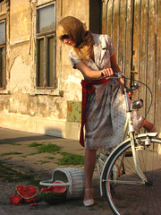 Gone... (Viktor ) Tags: street door red woman white girl bicycle scarf vintage gate basket dress accident retro watermellon aplusphoto