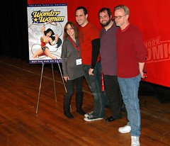 (l to r) Lauren Montgomery, Michael Jelenic, Gregory Noveck, and Bruce Timm