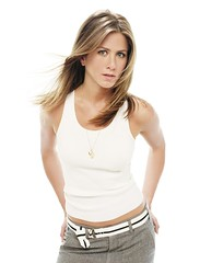 Jennifer Aniston (Al Ajniha) Tags: people white wearing standing portraits photography 1 women performingarts longhair posed jewelry blond tanktop americans prominentpersons celebrities whites posture females adults handsonhips jenniferaniston colourphotography studioportraits halflengthportraits halflengthstudioportraits