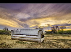 Worst seat in the house [HDR] (Rob Overcash Photography) Tags: sunset arizona sky abandoned trash canon desert gritty hdr cs3 tokina1224f4 50d tonemapped 5exposure dphdr robotography robovercashphotography