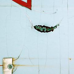 Fishing (daliborlev) Tags: fish abstract texture metal square boat rust underwater urbandecay rusty brno bolt oxidation damage cracks cracked fishingline keel mundanedetail 500x500 lisen le oldbillboard pelingpaper haphazartsquare