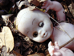 creepy doll (Traci Bunkers) Tags: flowers spring crocus frontyard creepydoll