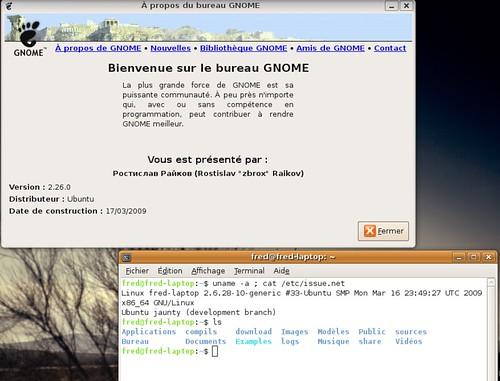 Gnome 2.26.0 sur Ubuntu Linux Jaunty Jackalope.