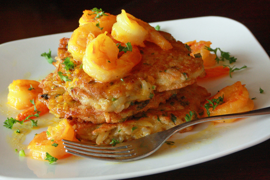 Shrimp over Rice Tortitas