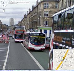 Two 22 buses next to each other on Google Street View's Leith Walk, Edinburgh