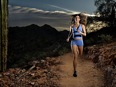 Morning Run in the Desert (Poppa-D) Tags: sunset mountains twilight rocks desert running run trail athlete fitness runner fitnessmodel