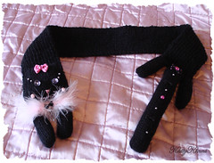 Darling Kitty Cat Scarf ( Cateaclysmic ) Tags: pink black bells scarf cat hearts ribbons sweet handmade knit kitty sparkle lolita icing etsy knitted darling gala bows stole galadarling